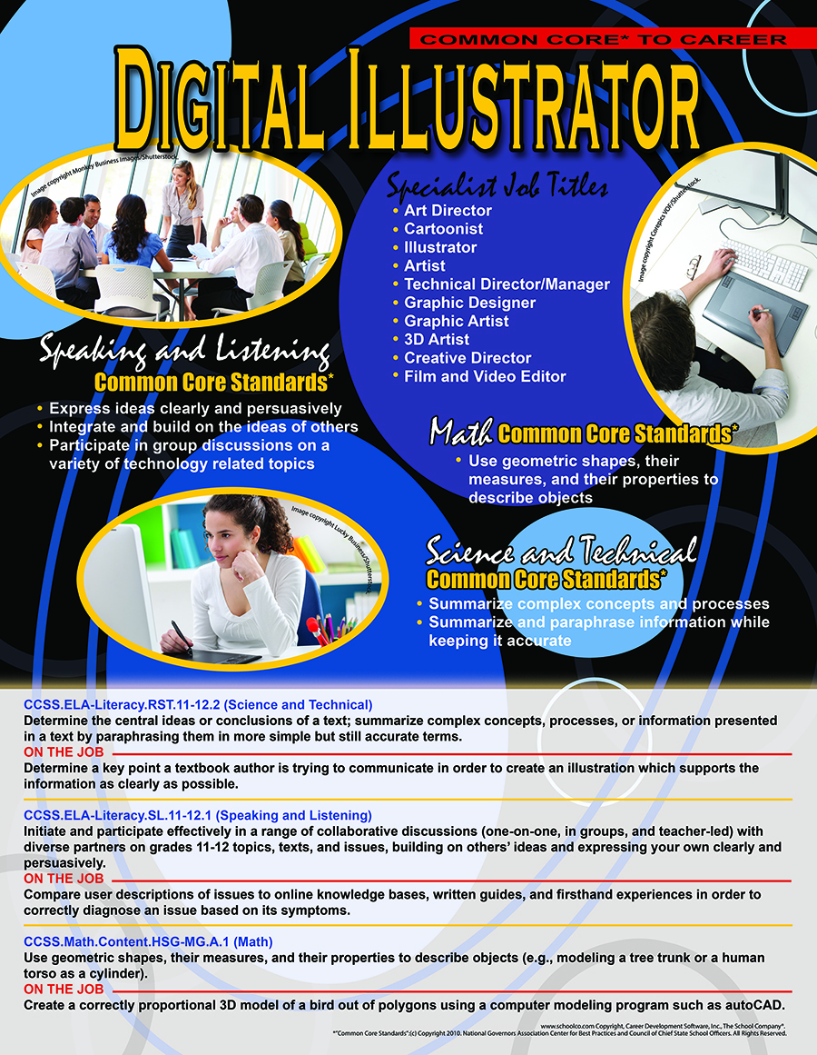 Common Core* To Career Digital Illustrator Poster